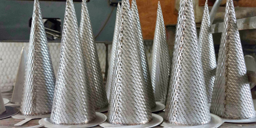 Group of cone strainers.
