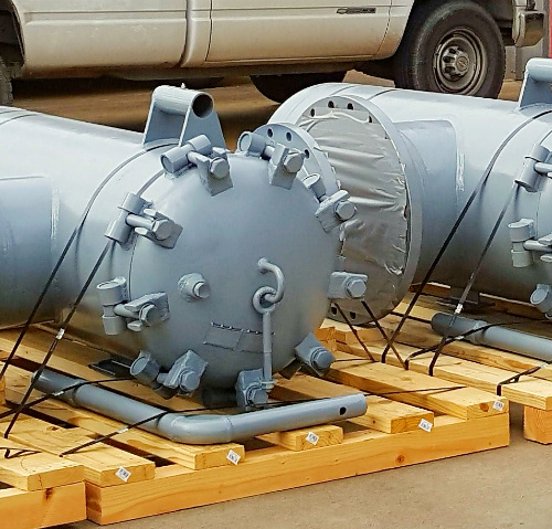 Pallet of fabricated vertical inline strainers.